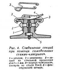 Рис. 4. Соединение секций при помощи самодельных стяжек-«лягушек»