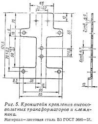 Рис. 5. Кронштейн крепления трансформаторов и клеммника