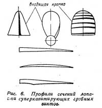 Рис. 6. Профили сечений лопасти суперкавитирующих гребных винтов
