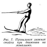 Рис. 7. Правильная лыжная стойка при движении на монолыже