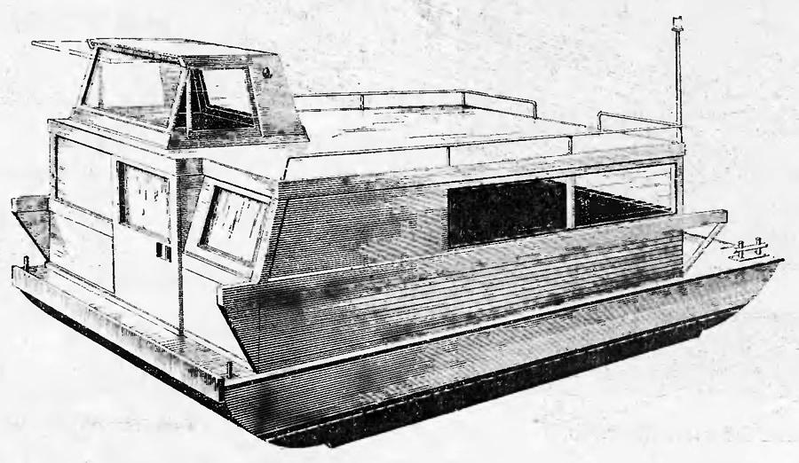 Рисунок готовой плавучей дачи
