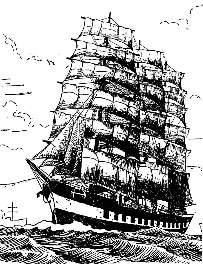Рисунок корабля типа барк