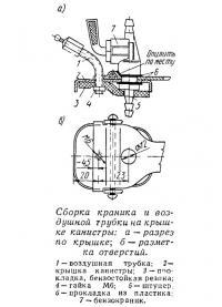 Сборка краника и воздушной трубки на крышке канистры
