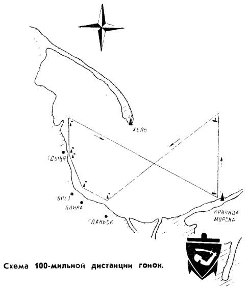 Схема 100-мильной дистанции гонок