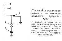 Схема для установки момента размыкания контакта прерывателя