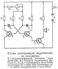 Схема электронного акустического тахометра