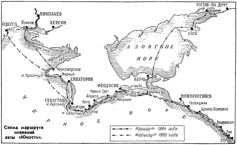 Схема маршрута плаваний яхты «Юность»
