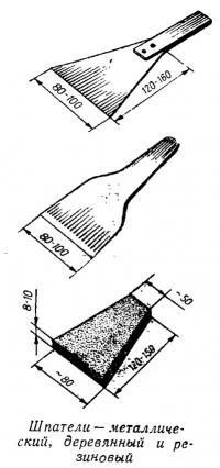 Шпатели — металлический, деревянный и резиновый