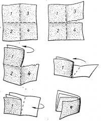 Складывание листа шкурки