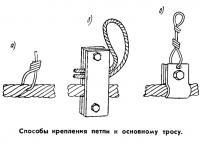 Способы крепления петли к основному тросу