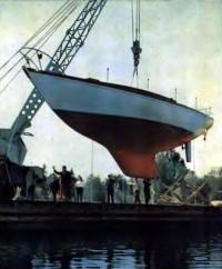 Спуск яхты на Таллинской экспериментальной верфи