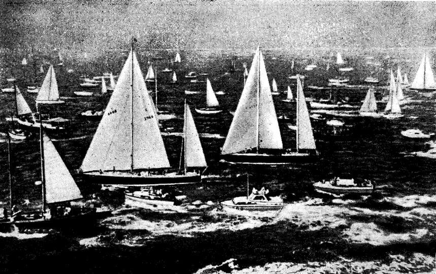 Старт гонки в Портсмуте. На переднем плане «Грейт Бритн II» и «Пан Дюик VI»