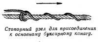 Стопорный узел для присоединения к основному буксирному канату