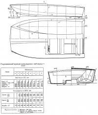 Теоретический чертеж катамарана и вид сверху — план