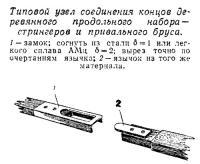 Типовой узел соединения концов деревянного продольного набора