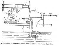 Установка для испытания подвесного мотора в опытовом бассейне