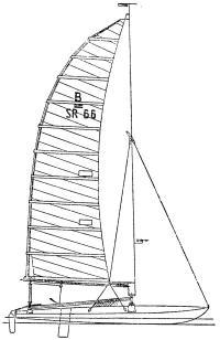 Вариант катамарана В с жестким крылом-мачтой