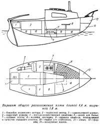 Вариант общего расположения яхты длиной 4,4 м