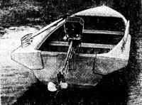 Вид переделанной лодки с булями и самодельным мотором