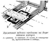 Временная заделка пробоины на деревянном корпусе