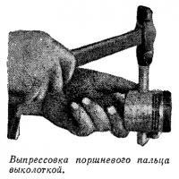 Выпрессовка поршневого пальца выколоткой