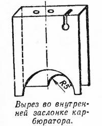 Вырез во внутренней заслонке карбюратора