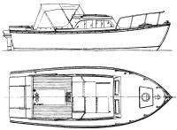 Яхта с убранной мачтой
