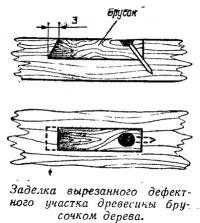 Заделка вырезанного дефектного участка древесины брусочком дерева