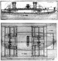 Боковой вид («фасад») и план (вид сверху) судна И. П. Кулибина