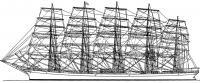 Боковой вид и парусность пятимачтового корабля «Пройссен»