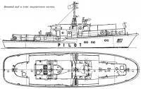 Боковой вид и план лоцманского катера