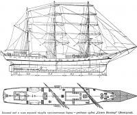 Боковой вид и план верхней палубы трехмачтового барка «Симон Боливар»