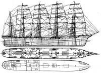 Боковой вид и планы палуб барка «Р. Ц. Рикмерс»