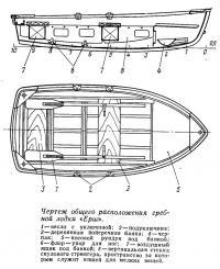 Чертеж общего расположения гребной лодки «Ерш»
