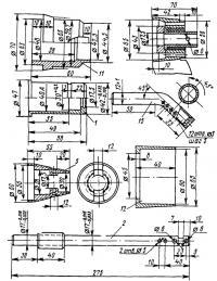 Детали редуктора и винта с выпуском через ступицу