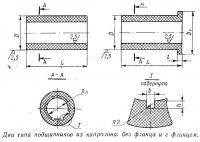 Два типа подшипников из капролона: без фланца и с фланцем
