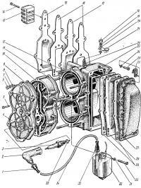 Двигатель (блок цилиндров), свечи и трансформаторы