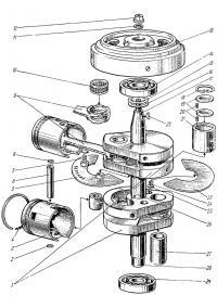 Двигатель (коленчатый вал, поршни), маховик