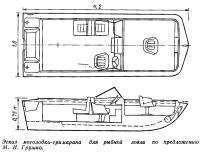 Эскиз мотолодки-тримарана для рыбной ловли по предложению М. И. Грушко