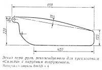 Эскиз пера руля для трехместного «Салюта» с парусным вооружением