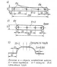Эскизы серьги шпрюйтов штага, вант-путенса и хомута