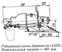Габаритная схема движителя «12JE»