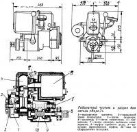 Габаритный чертеж и разрез двигателя «Вире-7»