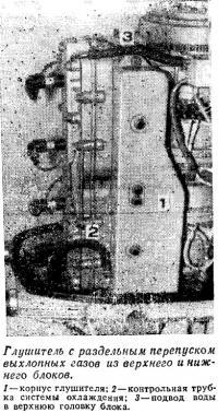 Глушитель с раздельным перепуском выхлопных газов из верхнего и нижнего блоков