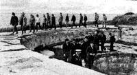 Группа яхтсменов осматривает бывшие боевые позиции