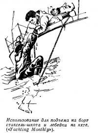 Использование для подъема на борт стаксель-шкота и лебедки на яхте