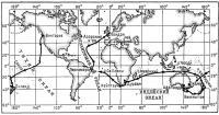 Карта плавания капитана Джона-Клауса Фосса на «Тиликуме»