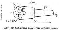 Ключ для регулировки углов атаки носового крыла