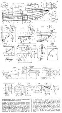 Конструктивный чертеж и сечения по шпангоутам туристского варианта «Радуги-34»