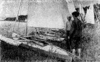 Ленинградская байдарка под № 61 типичный образец парусного тримарана для походов и гонок